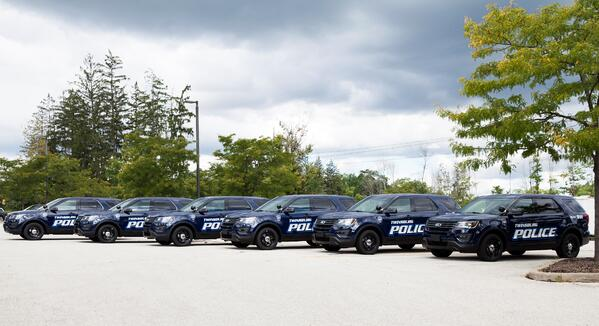 A squad of Twinsburg Police cruisers