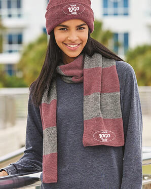 custom-embroidered hat and scarf combos.
